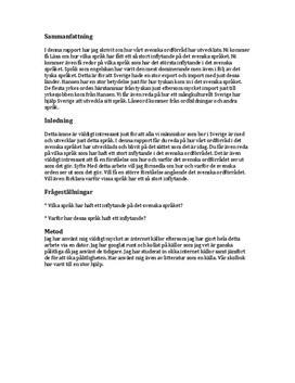 Svenska språkets förändring | Fördjupningsuppgift