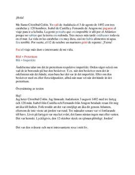 Översättning och preterium & imperfekt | Inlämningsuppgift