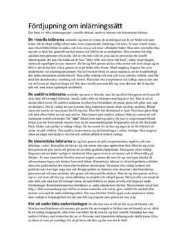 Inlärningssätt | Sammanfattning