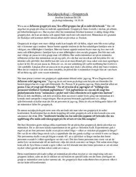 Grupptryck: socialpsykologi   Diskuterande text