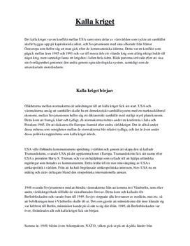 Kalla kriget | Sammanfattning