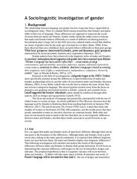 A Sociolinguistic Investigation of Gender | Rapport