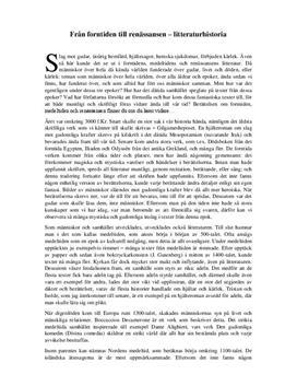 Litteraturhistoria: Från forntiden till renässansen | Utredande text