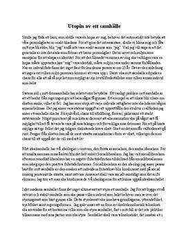 Utopi - mitt drömsamhälle | Diskuterande text
