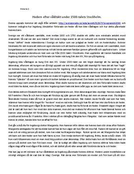 Hederskulturen i Sverige under 1500-talet   Diskuterande text