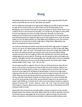 Slang i svenskan | Utredande text