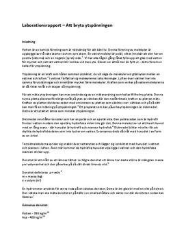 Ytspänning | Labbrapport