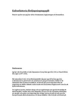 Tre tavlor från tre epoker: Renässansen, upplysningen, och romantiken | Fördjupningsuppgift