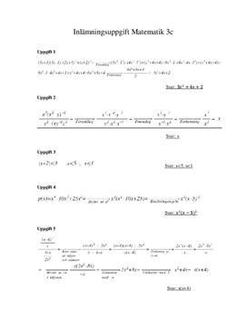Matematik 3c: Uträkningar | Inlämningssuppgift