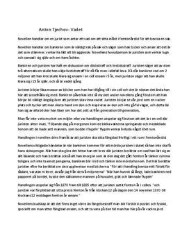 Anton Tjekhov: Vadet   Novellanalys