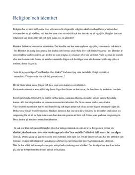 Religion och identitet | Inlämningsuppgift