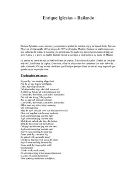 Enrique Iglesias | Bailando | Inlämningsuppgift