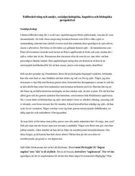 Fallbeskrivning | Kognitiva, socialpsykologiska och biologiska perspektivet | Analys