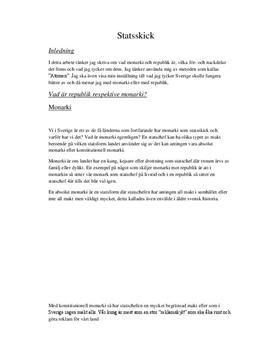Statsskick: Monarki och republik | Sammanfattning