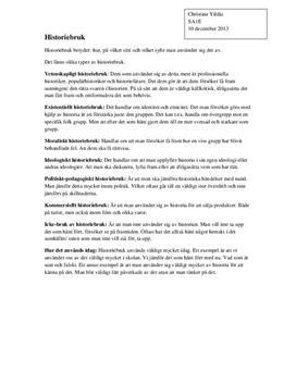 Historiebruk | Sammanfattning