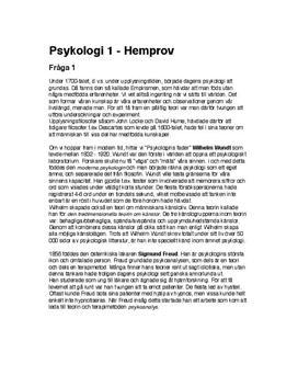 Psykologiska perspektiv | Inlämningsuppgift | Hemtenta