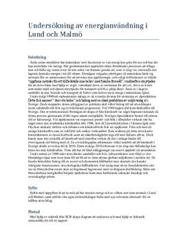 Energianvändning i Malmö och Lund | Undersökning