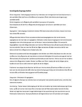 Integration, segregation, assimilering, pluralism | Sociologiska begrepp | Sammanfattning