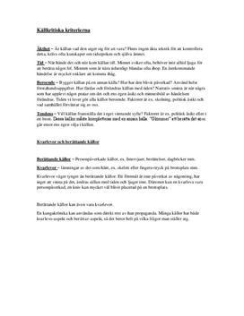 Källkritik | Sammanfattning