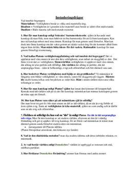 Verklighetsuppfattning: Materialism, dualism, idealism | Platon | Instuderingsfrågor