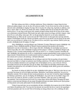 Tillåt aktiv dödshjälp i Sverige | Argumenterande text