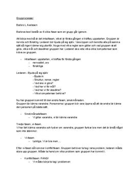 Barbro Lennéer Axelsons grupprocesser | Sammanfattning