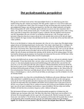 Personligt kring det psykodynamiska perspektivet | Diskuterande text