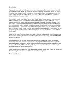 Letter to Teacher | Brev