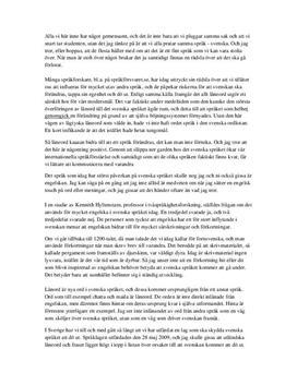 Svenska språkets utveckling | Utredande tal