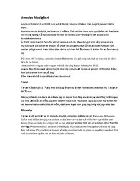 Amedeo Modigliani: Bildanalys   Sammanfattning