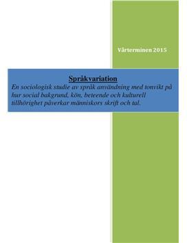Språkvariation, social bakgrund och kultur | Rapport