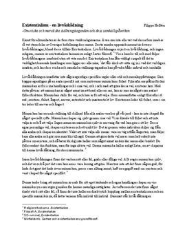 Existensialism och etik | Utredande text