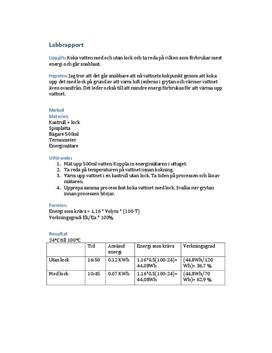 Verkningsgrad: Koka vatten med eller utan lock | Labbrapport