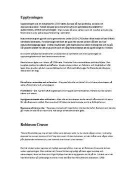 Upplysningen, romantiken och realismen: Litterära verk och kännetecken   Fördjupningsuppgift