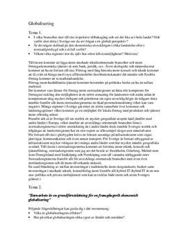 Globalisering och ekonomi | Utredande text