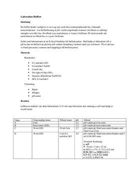 Buffertsystem och pH-värde   Labbrapport