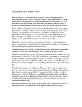 Mayaindianernas tro och kultur | Fördjupningsuppgift