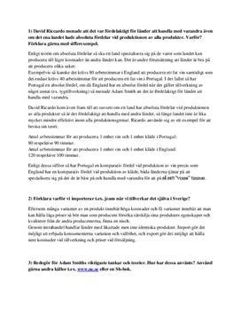 Intrahandel och Adam Smith | Frågor och svar