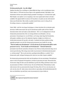 Könsneutralt språk - bra eller dåligt? | Utredande text