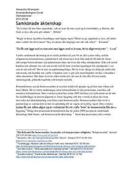 Samkönade äktenskap: Homosexualitet i de abrahamitiska religionerna och dess etik   Analys