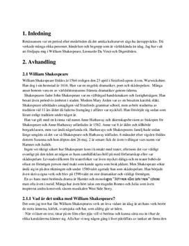 Renässansen: William Shakespeare, Leonardo da Vinci och Digerdöden | Fördjupningsarbete