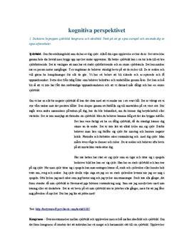 Kognitiva perspektivet i psykologi   Frågor och svar