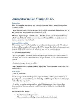 Statsorgan i Sverige och USA   Jämförelse