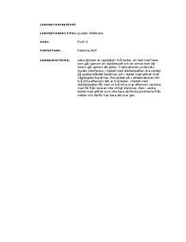 Interferens | Laser och gitter | Labbrapport
