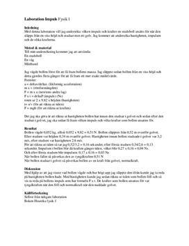 Studsboll | Impuls och kraft | Labbrapport