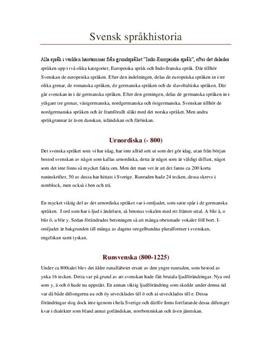 Sveriges språkhistoria | Sammanfattning