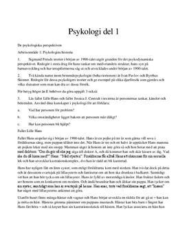 De psykologiska perspektiven   Frågor och svar