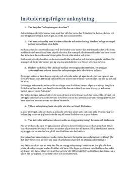 Anknytning | Psykologi | Instuderingsfrågor