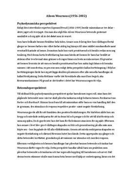 Aileen Wournos | Psykodynamiska, beteende- och kognitiva perspektivet | Jämförelse