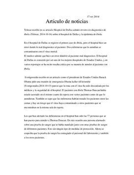 Articulo de noticias | Referat på spanska